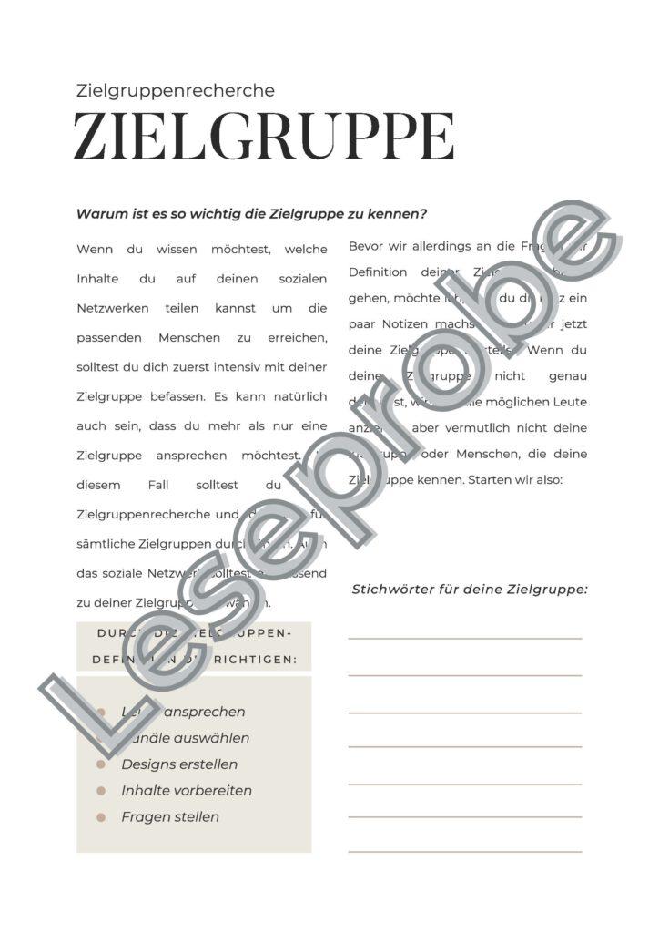 Leseprobe Social Media Workbook Zielgruppe