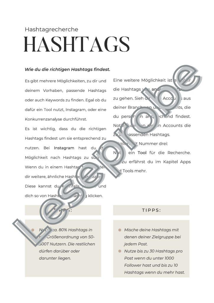 Leseprobe Social Media Workbook Hashtags
