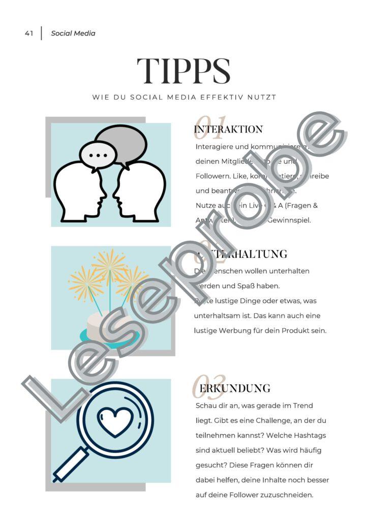 Leseprobe Social Media Workbook Tipps
